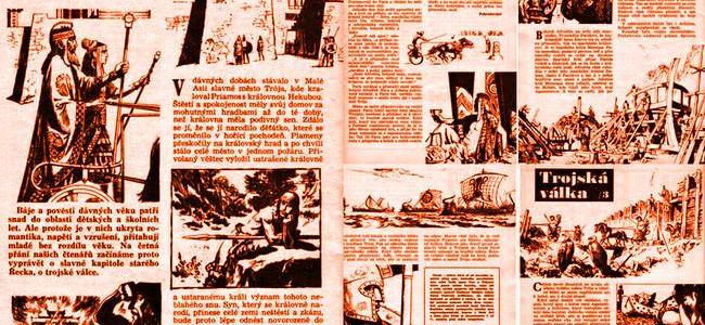 """TROJSKÁ VÁLKA: """"komiks"""" z časopisu Zápisník z roku 1967"""