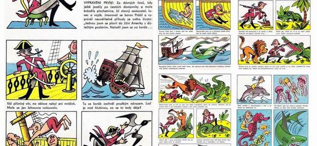 BARON PRÁŠIL: komiks z časopisu Čtyřlístek z roku 1973…